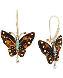 Betsy Johnson Gold-Tone Tortoise-Look Butterfly Drop Earrings