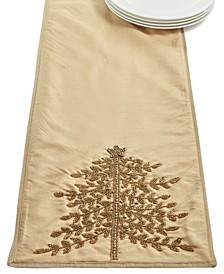 Gold-Tone Jeweled Pine Embellished Runner