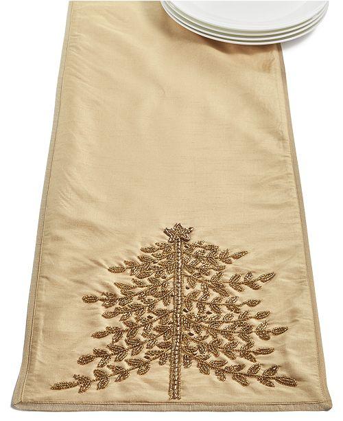 Elrene Gold-Tone Jeweled Pine Embellished Runner