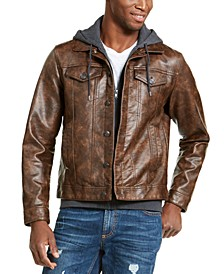Men's Faux Leather Trucker Jacket, Created For Macy's