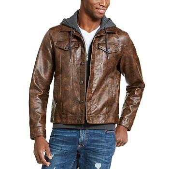 American Rag Men's Faux Leather Trucker Jacket