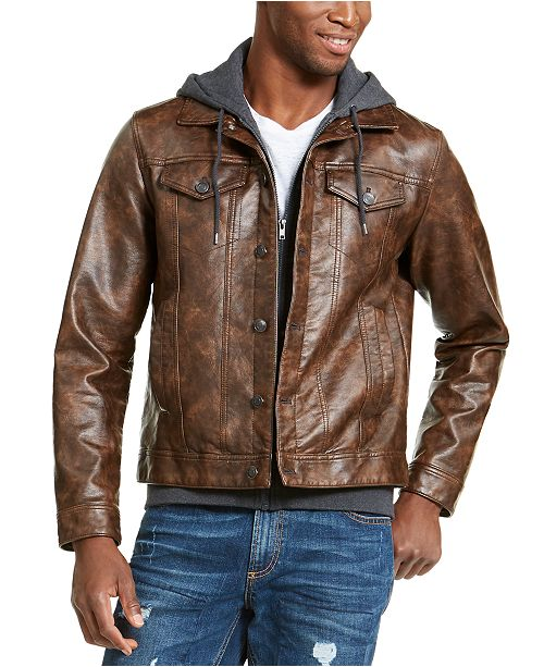 American Rag Men's Faux Leather Trucker Jacket, Created For Macy's