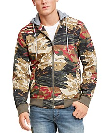Men's Juxtaposed Camo Bomber Hoodie, Created For Macy's
