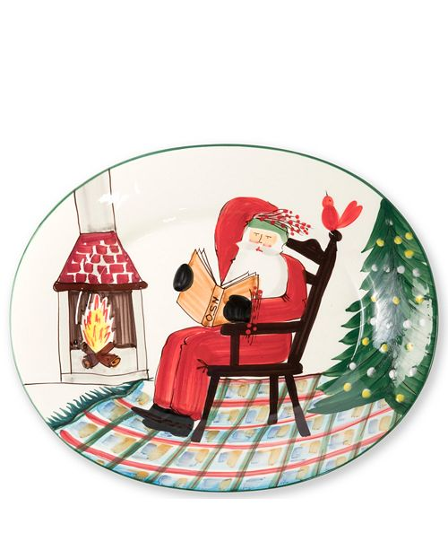 VIETRI Old St. Nick Large Oval Platter Santa Reading