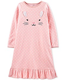 Little & Big Girls Dot-Print Bunny Fleece Nightgown