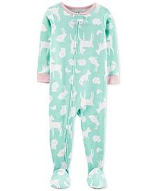 Toddler Girls Cotton Footed Woodland Animals Pajamas