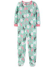 Little & Big Girls 1-Pc. Cat-Print Fleece Footed Pajamas