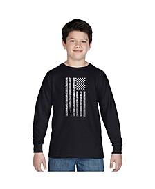 Boy's Word Art Long Sleeve T-Shirt - National Anthem Flag