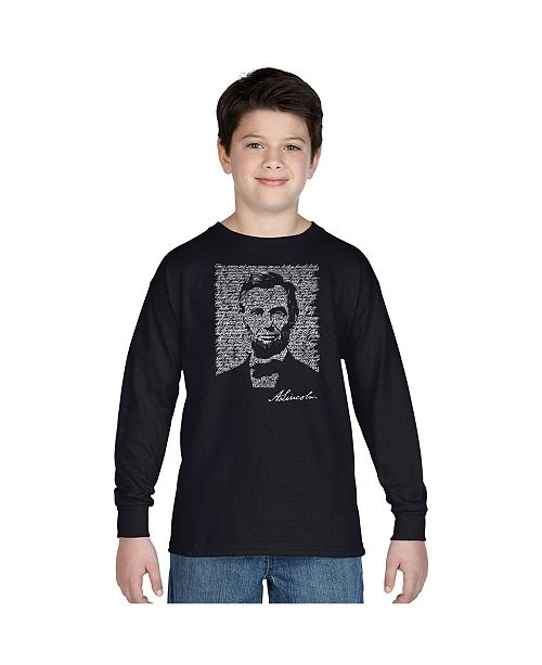 LA Pop Art Boy's Word Art Long Sleeve T-Shirt - Abraham Lincoln - Gettysburg Address