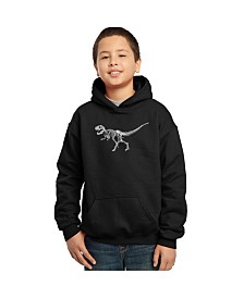 LA Pop Art Boy's Word Art Hoodies - Dinosaur T-Rex Skeleton