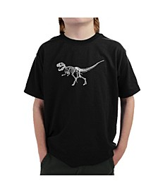 Boy's Word Art T-Shirt - Dinosaur T-Rex Skeleton