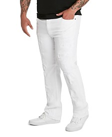 MVP Collections Men's Big & Tall White Distressed Denim Jeans