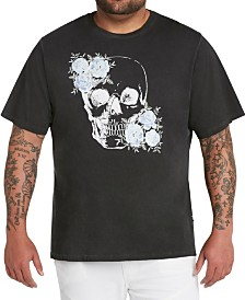 MVP Collections Men's Big & Tall Floral Sequin Skull Print Oil Wash T-Shirt