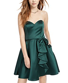 Juniors' Ruffled Strapless Fit & Flare Dress