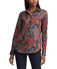 Petite Paisley-Print Sateen Cotton Button-Down Shirt