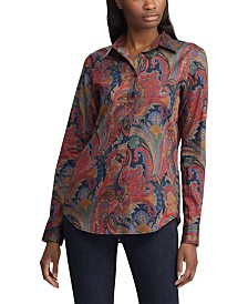 Lauren Ralph Lauren Petite Paisley-Print Sateen Cotton Button-Down Shirt