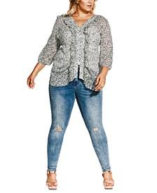 Trendy Plus Size Snow Leopard-Print Blouse