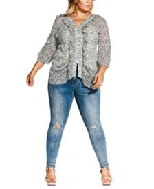 City Chic Trendy Plus Size Snow Leopard-Print Blouse