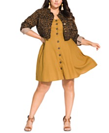 City Chic Trendy Plus Size Animal-Print Denim Jacket