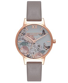 Women's Signature Florals Gray Leather Strap Watch 30mm