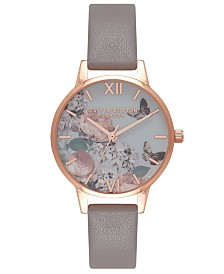 Olivia Burton Women's Signature Florals Gray Leather Strap Watch 30mm