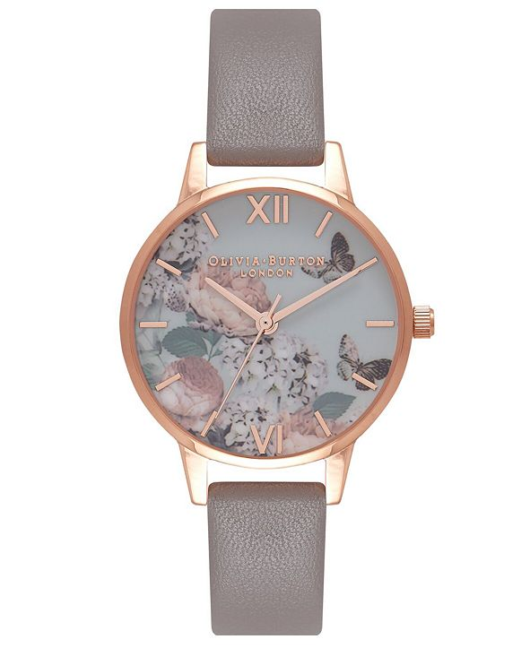 Olivia Burton Women's Signature Florals Gray Leather Strap Watch 30mm