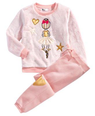 Little Girls 2-Pc. Faux Fur Ballerina Sweatshirt & Jogger Pants Set, Created for Macy's
