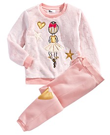 Epic Threads Little Girls 2-Pc. Faux Fur Ballerina Sweatshirt & Jogger Pants Set, Created for Macy's
