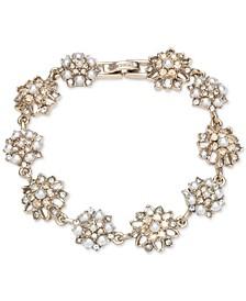 Gold-Tone Crystal & Imitation Pearl Cluster Flex Bracelet