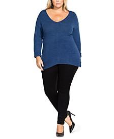 Trendy Plus Size V-Neck Soft Sweater