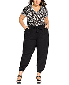 Trendy Plus Size Cotton Relaxed Tie-Waist Pants