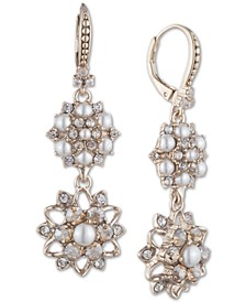 Gold-Tone Crystal & Imitation Pearl Cluster Double Drop Earrings