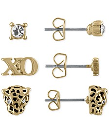 Gold-Tone 3-Pc. Set Crystal, XO and Leopard Stud Earrings