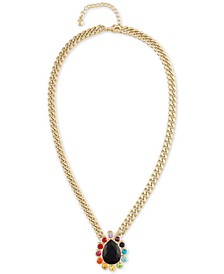 """Gold-Tone Multicolor Crystal Pendant Necklace, 16"""" + 2"""" extender"""