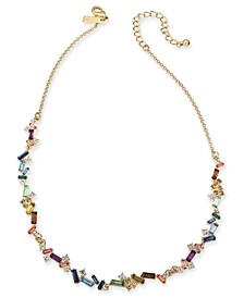 "INC Gold-Tone Multi-Stone Collar Necklace, 17"" + 3"" extender, Created For Macy's"
