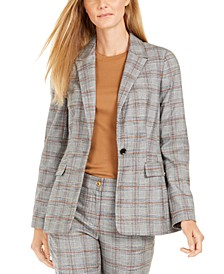 Petite Plaid Notched-Lapel Blazer