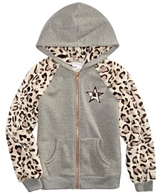 Big Girls Leopard-Print Hoodie, Created for Macy's
