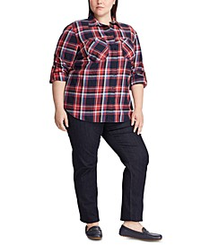 Plus Size Plaid-Print Cotton Twill Roll-Tab Shirt