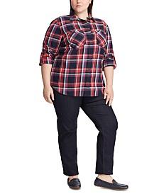 Lauren Ralph Lauren Plus Size Plaid-Print Cotton Twill Roll-Tab Shirt