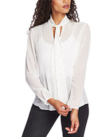 1.STATE Tie-Neck Pintuck Blouse