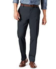 Men's Signature Lux Cotton Straight Fit Creased Stretch Khaki Pants