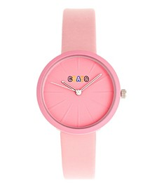 Unisex Blade Pink Leatherette Strap Watch 37mm