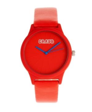Unisex Splat Red Leatherette Strap Watch 38mm