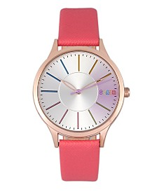 Crayo Unisex Gel Coral Leatherette Strap Watch 35mm