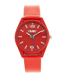 Unisex Dynamic Red Leatherette Strap Watch 36mm