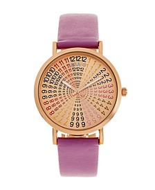 Unisex Fortune Purple Genuine Leather Strap Watch 38mm