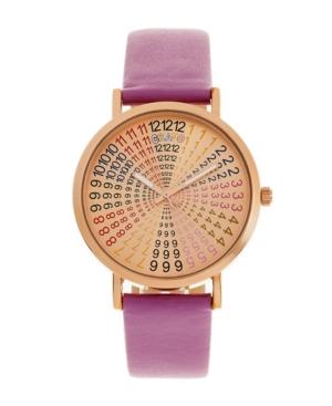 Unisex Fortune Purple Genuine Leather Strap Watch 38mm
