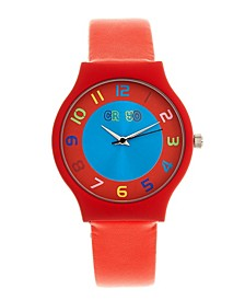Unisex Jubilee Orange Leatherette Strap Watch 36mm