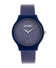 Unisex Glitter Blue Leatherette Strap Watch 36mm