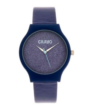 Unisex Glitter Purple Leatherette Strap Watch 36mm